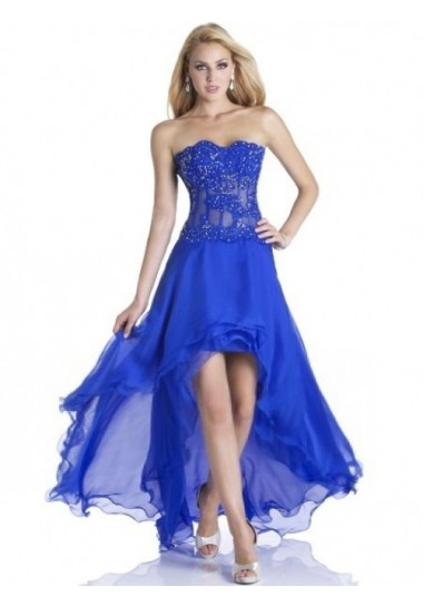 A-line Strapless Chiffon Royal