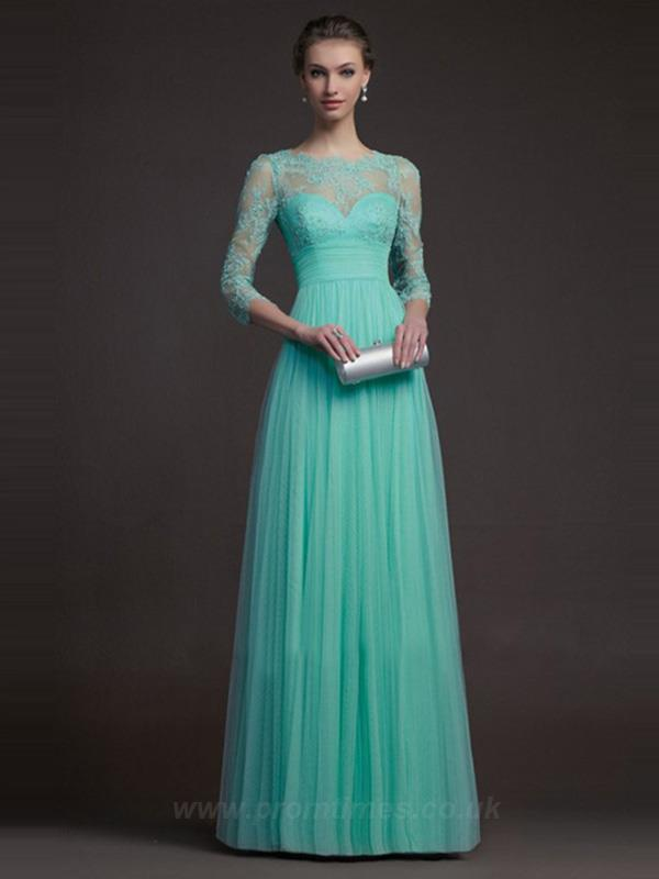 Scoop Length Floor-length Long Prom Dresses UK
